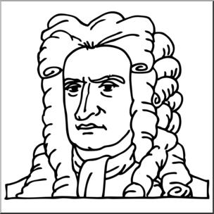 Clip Art: Science: Newton B&W I abcteach.com.