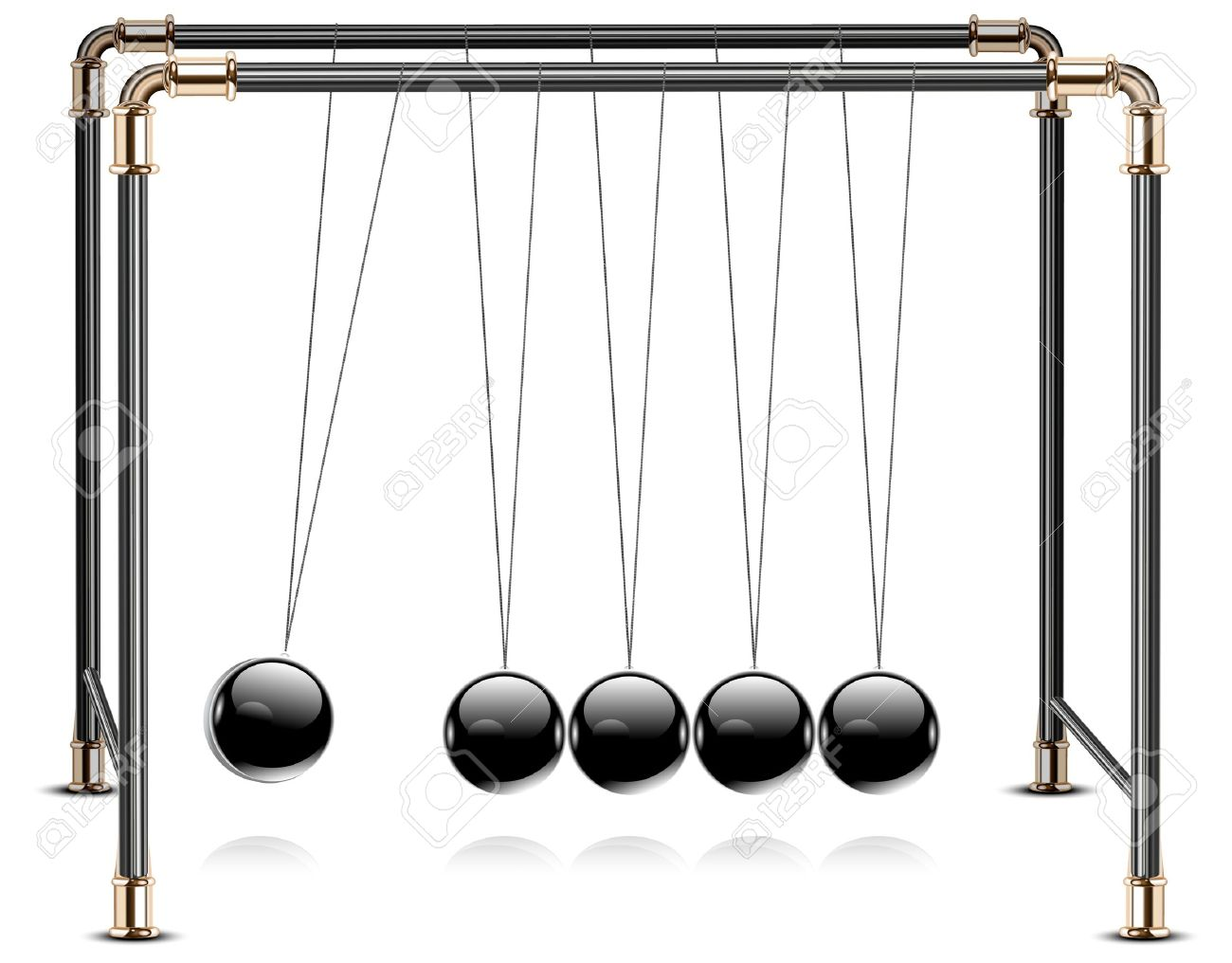 Pendulum, Balancing Balls Newton's Cradle In Action Over Royalty.