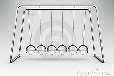 Newtons Cradle Made In Glass Stock Photo.