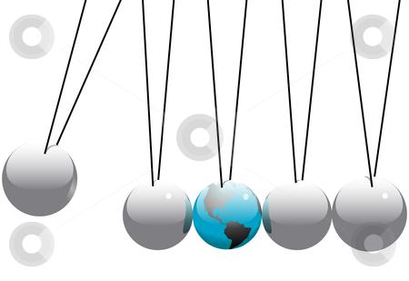 Earth Globe in Newtons Cradle Balls stock vector.