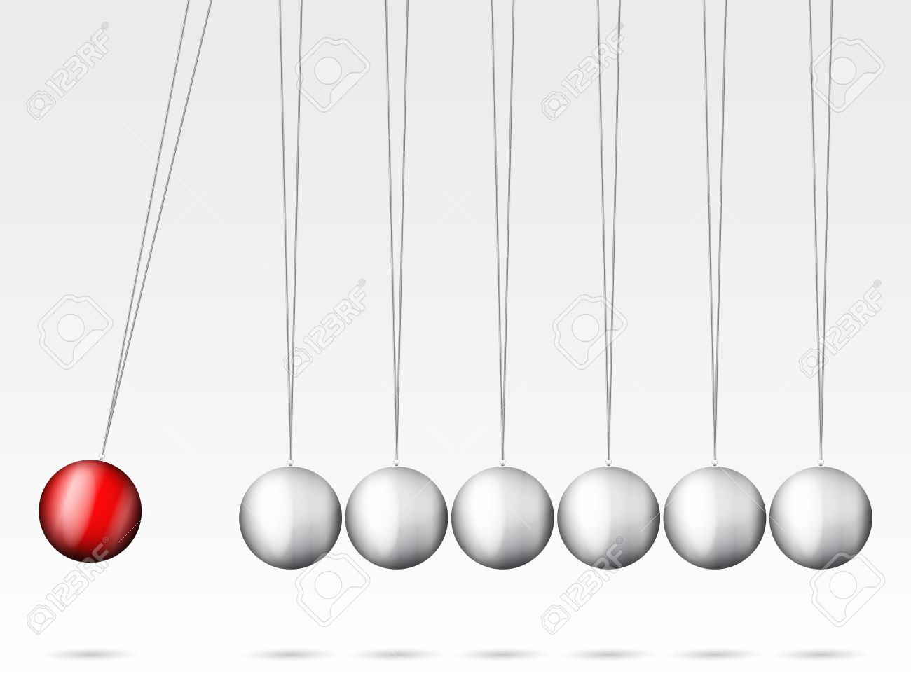Balancing Balls Newton's Cradle On A White Background. Royalty.