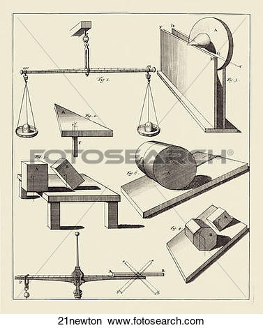 Drawings of Antique engraving depicting Newtonian Physics.