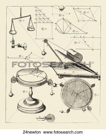 Drawings of Antique Engraving Illustrating Newtonian Concepts of.