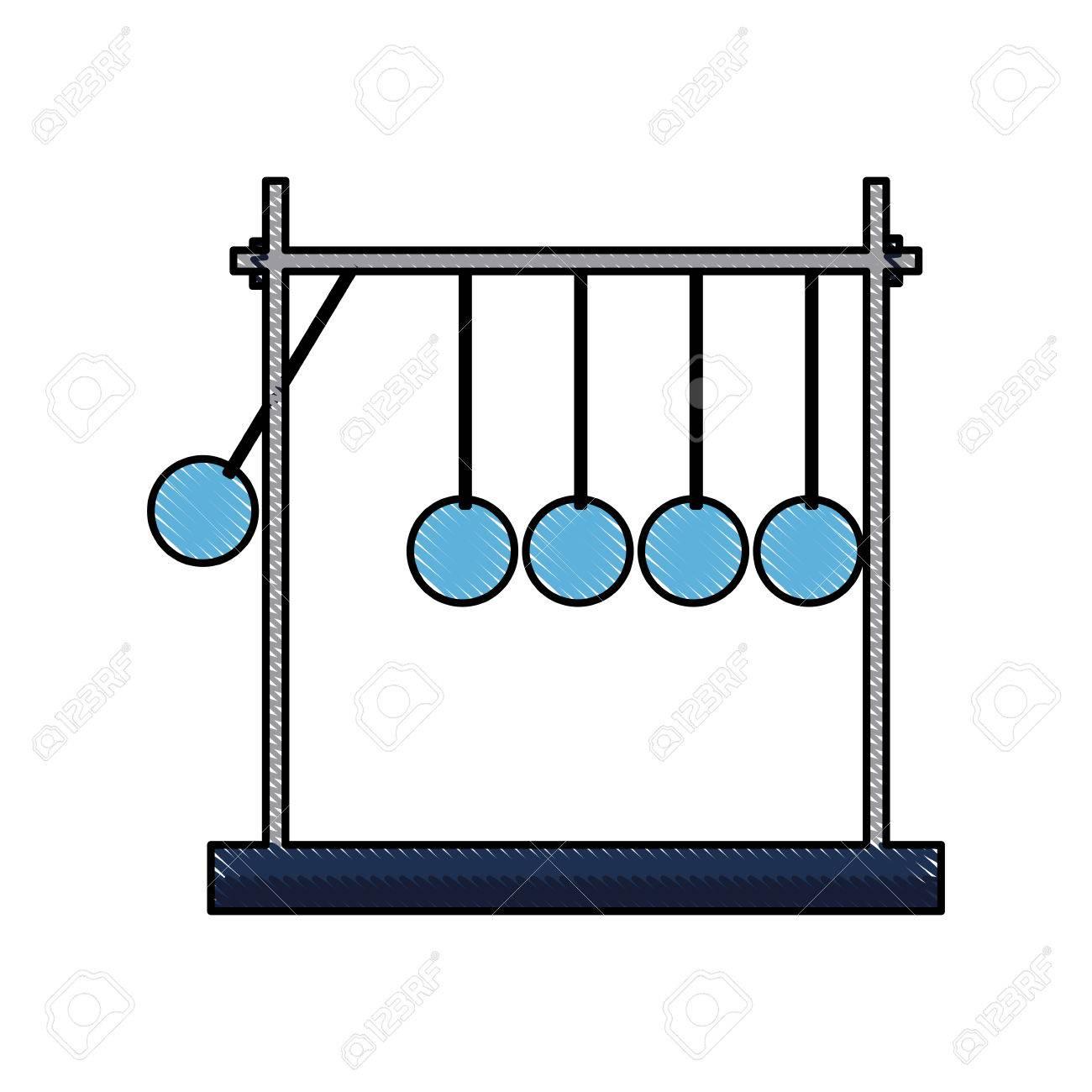 drawing newtons cradle momentum pendulum metal vector illustration.
