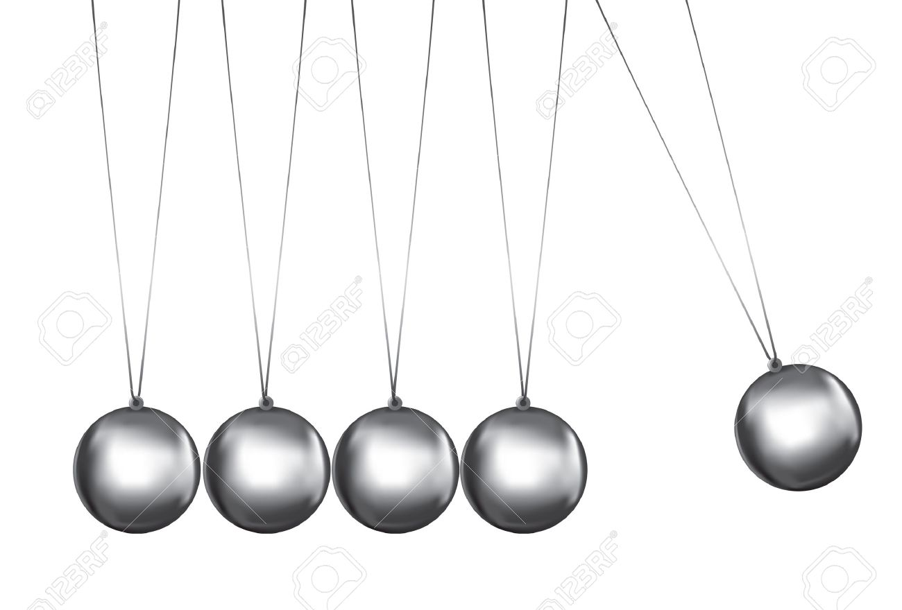 newtons cradle silver balls viewed from the front.