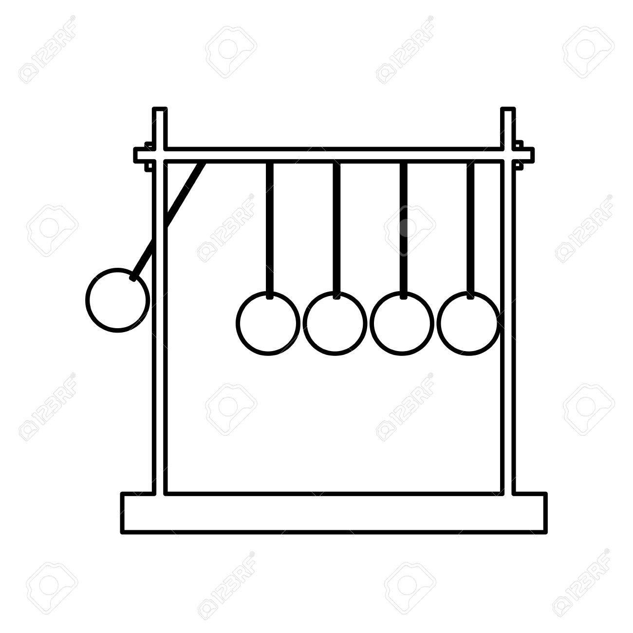 newtons cradle momentum pendulum metal line vector illustration.