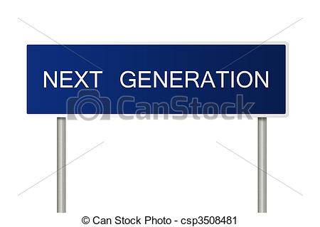 Clipart of Road sign with text Next Generation.
