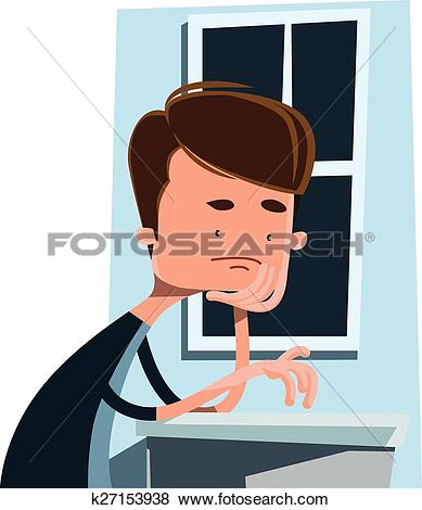 Clip Art of Man waiting next to a window k27153938.