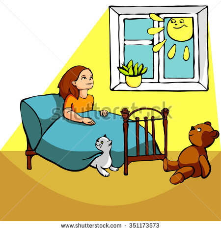 Girl Sitting On Bed Next Cat Stock Vector 351173573.