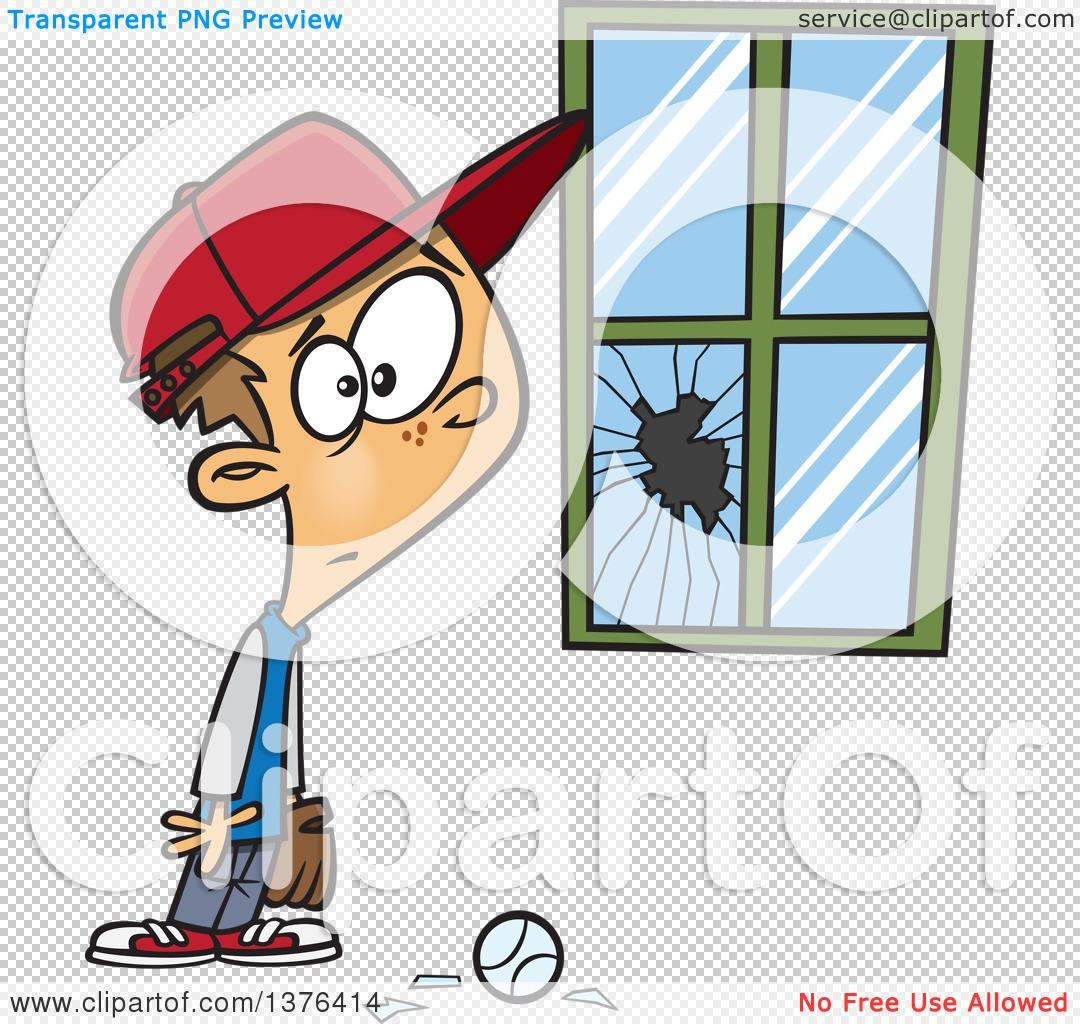 Clipart of a Cartoon Worried White Boy Standing Next to a Window.