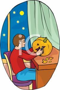 of a Boy Carving a Pumpkin Next To an Open Window.