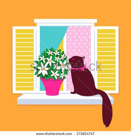 Cat Window Stock Vectors, Images & Vector Art.
