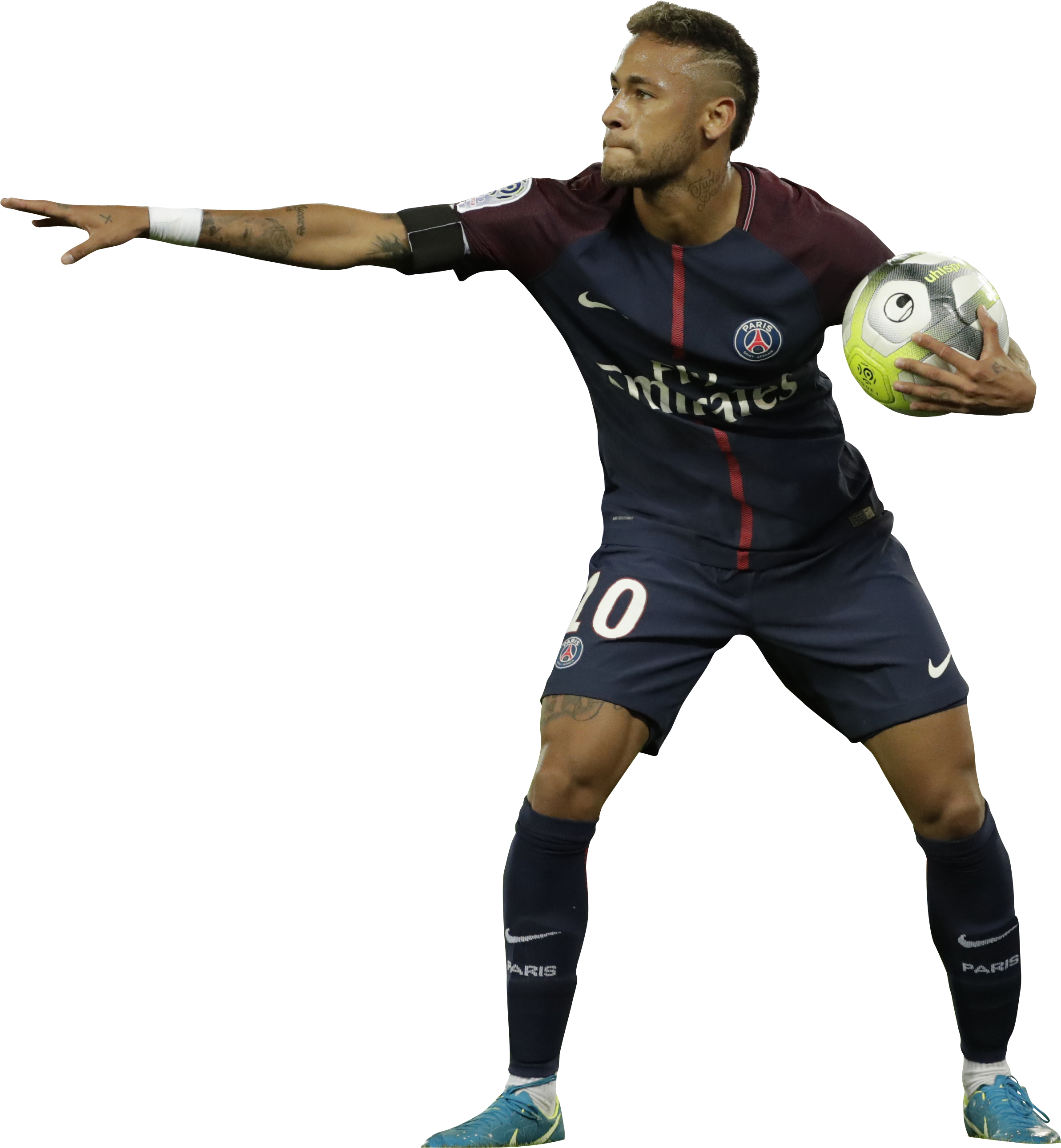 Neymar PSG 2017 With Ball Clipart Images Black and White.