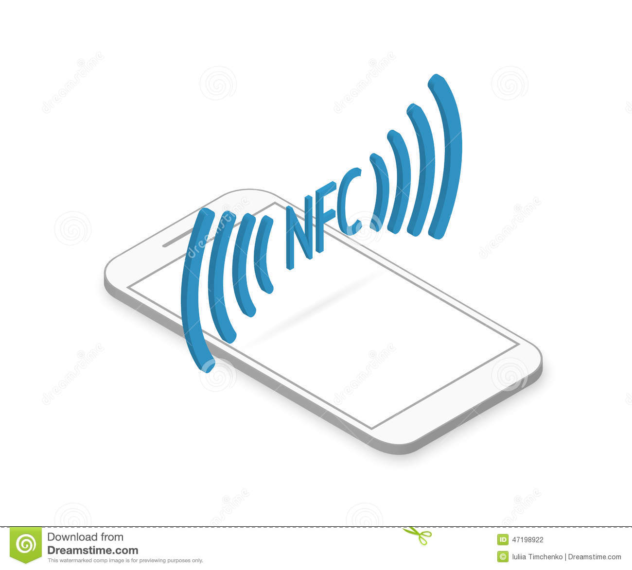 Smartphone With Nfc Function Stock Vector.