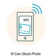 Clip Art Vector of NFC technology concept. Flat illustration of.