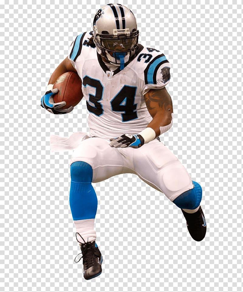 NFL player playing holding football, Carolina Panthers.