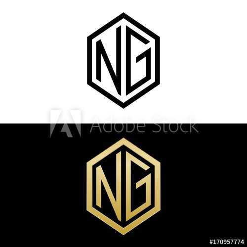initial letters logo ng black and gold monogram hexagon.