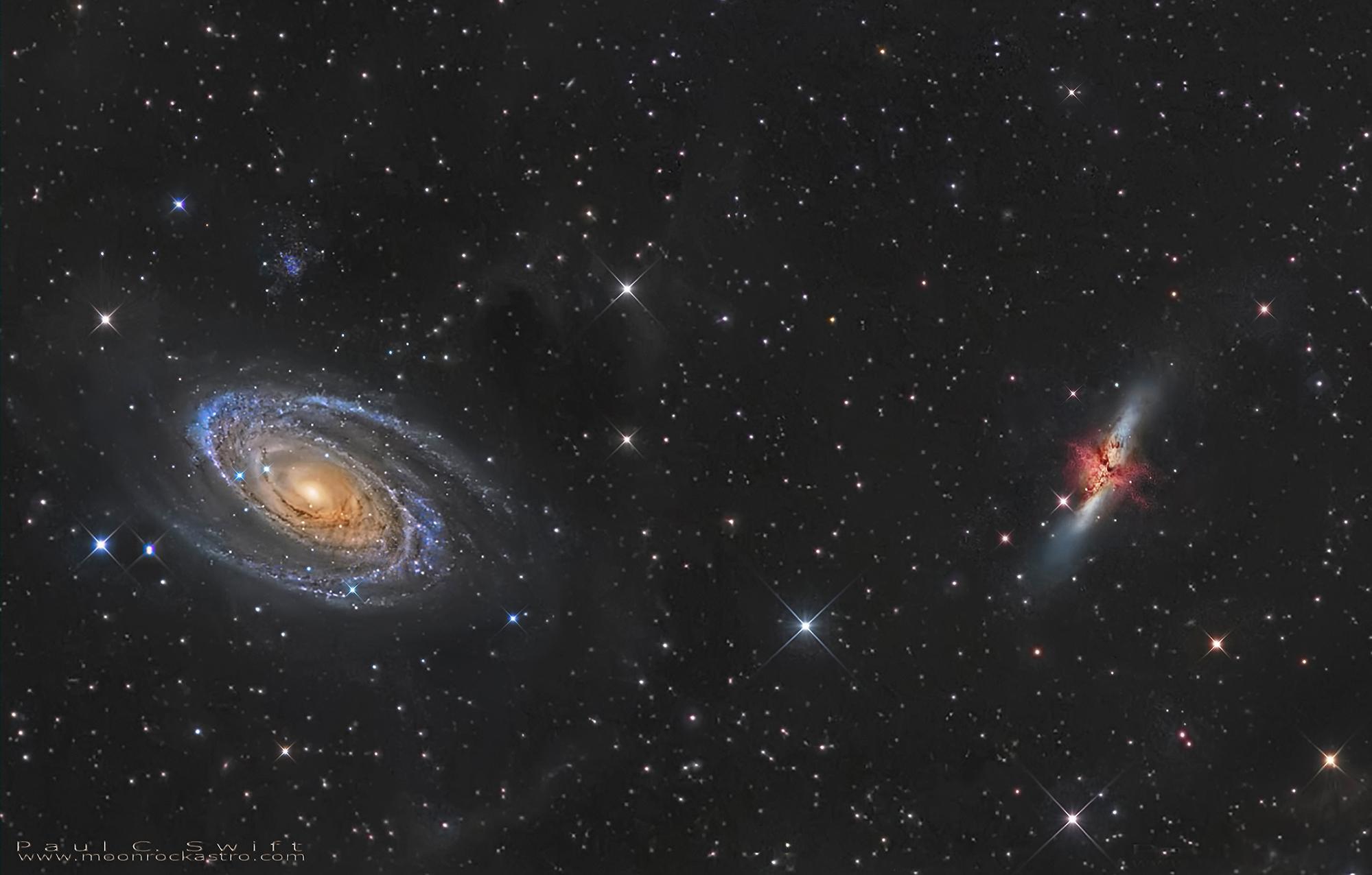 M 82, NGC 3034, M 81, Bode's nebulae, NGC 3031.