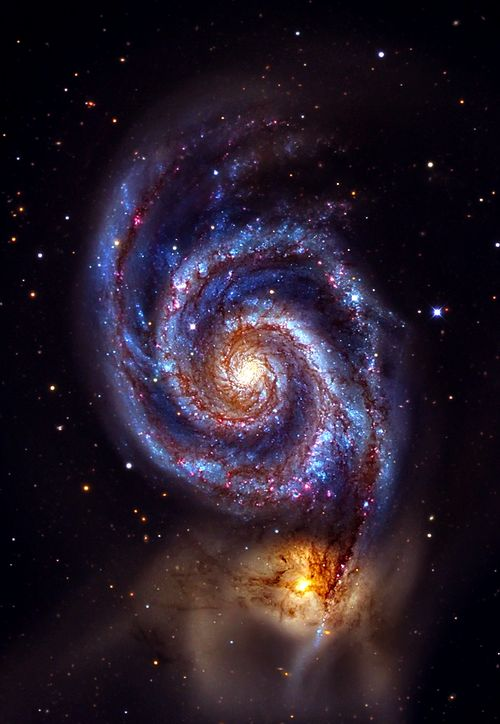 The Whirlpool Galaxy (M51A or NGC 5194) and (M51B or NGC 5195.