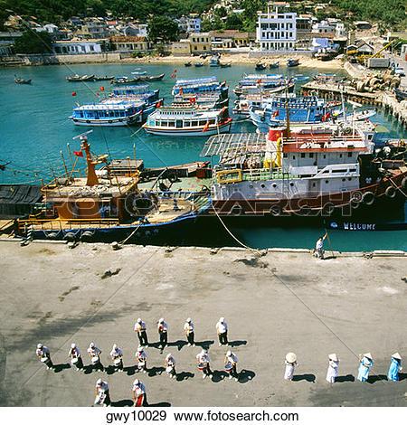 Stock Photograph of Welcoming cruise ship, Port of Nha Trang.