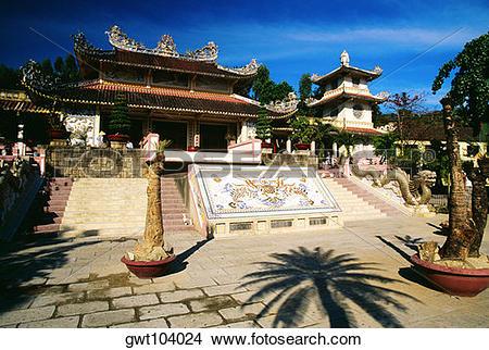 Stock Photo of White Buddhist temple, Nha Trang, Vietnam gwt104024.