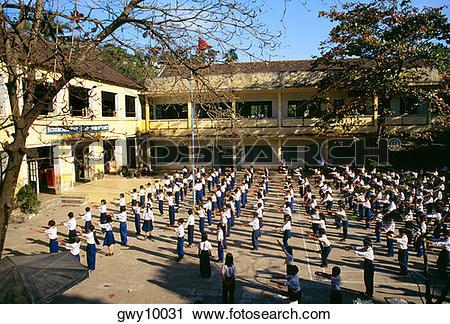 Stock Photography of School yard exercise, Nha Trang, Vietnam.