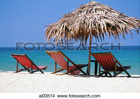 Stock Photo of Vietnam, beach chairs and umbrella on Nha Trang.