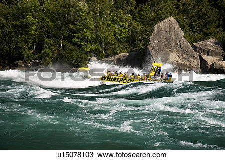 Stock Photo of Whirlpool Jet Boat tour on Niagara River in Niagara.