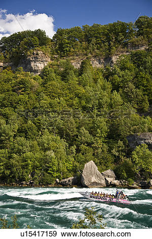 Stock Photograph of Whirlpool Jet Boat tour on Niagara River in.