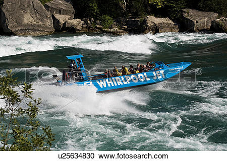 Stock Photography of Whirlpool Jet Boat tour on Niagara River in.