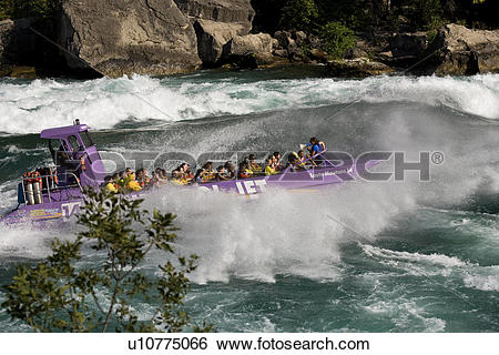 Stock Images of Whirlpool Jet Boat tour on Niagara River in.