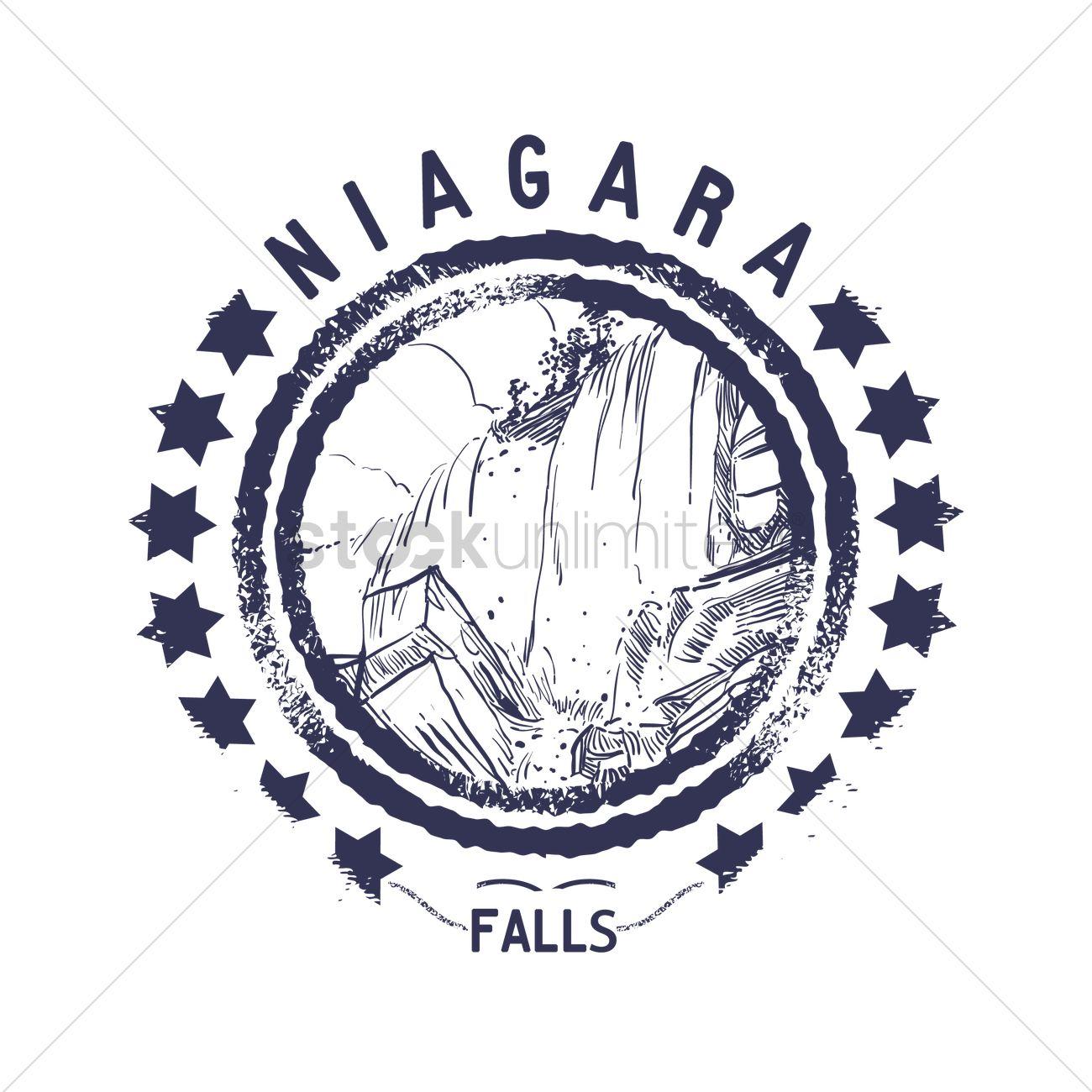 Grunge rubber stamp of niagara falls Vector Image.