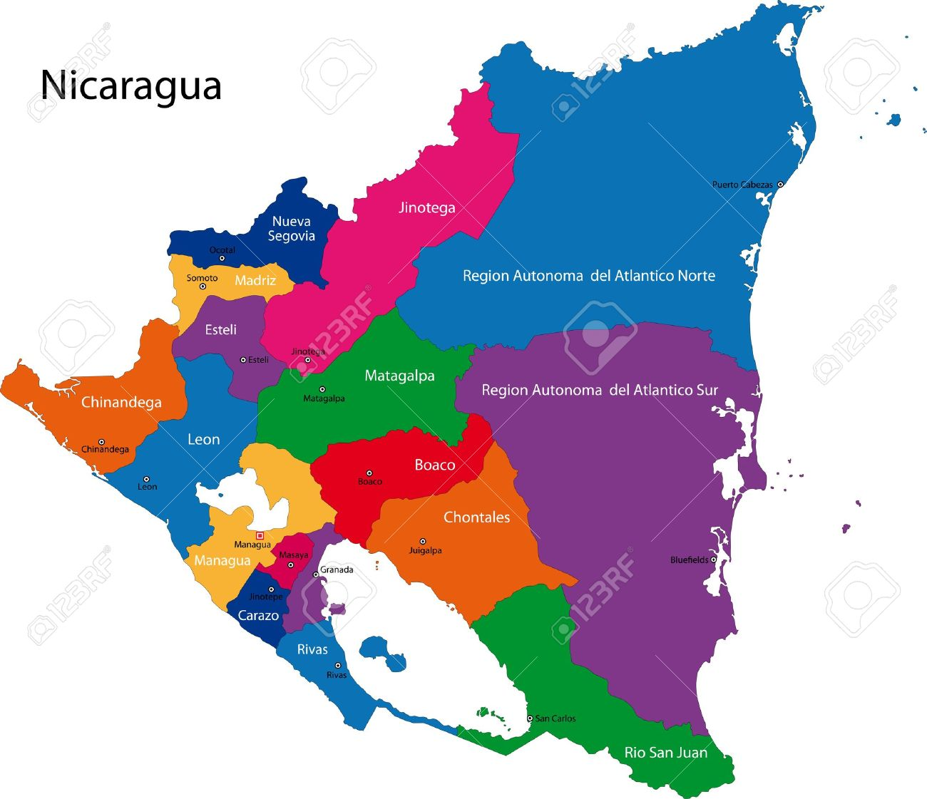 Nicaragua Map Clipart Clipground - Country map of nicaragua