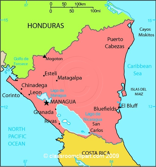 Nicaragua Map Clipart Clipground - Nicaragua maps with countries