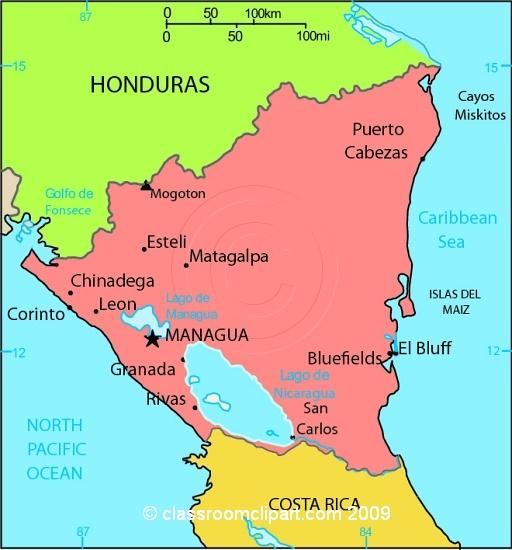 Nicaragua Map Clipart.