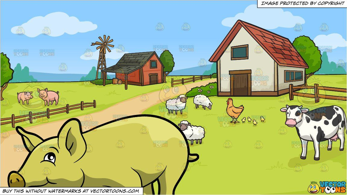 clipart #cartoon A Nice Yellow Pig and A Farm Background.