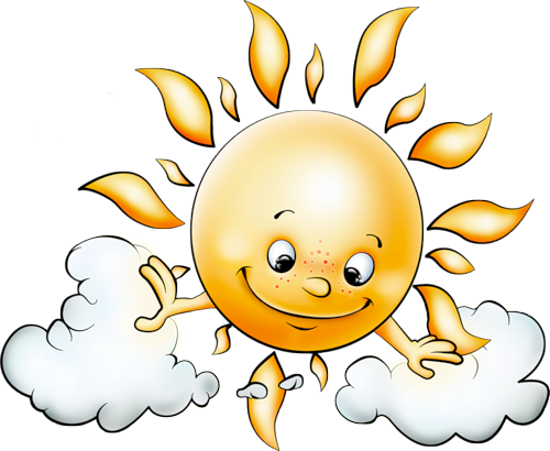 Sun with Clouds Free PNG Picture Clipart.