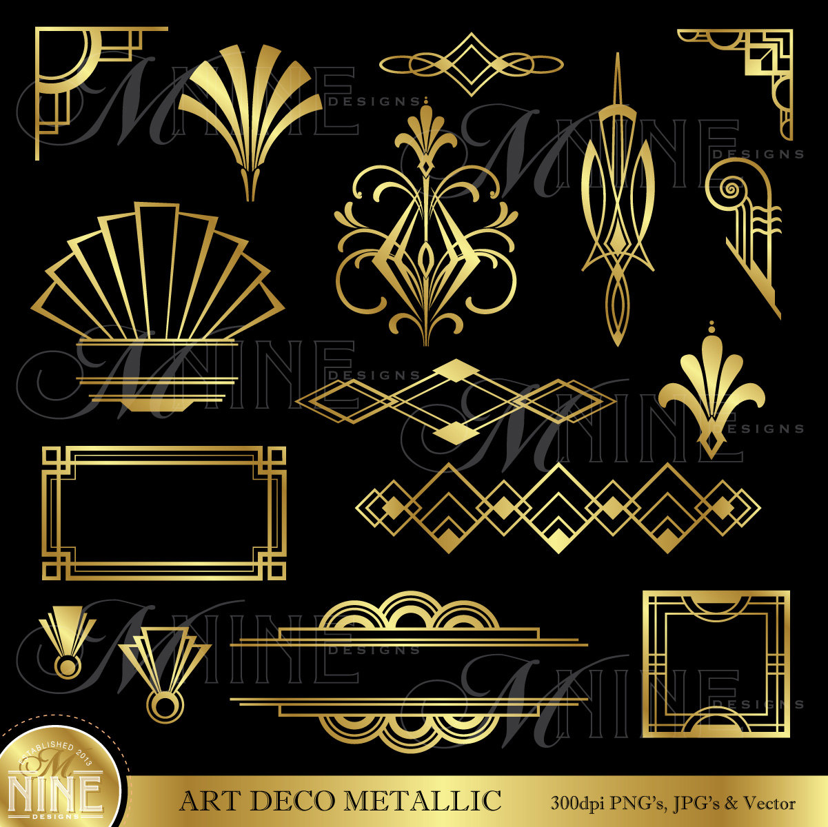 ART DECO Gold Metallic Style Design Elements by MNINEDESIGNS.