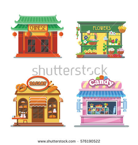Nice Showcases Shops Bakery Candy Store Stock Vector 576190522.