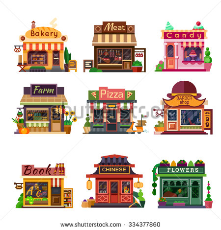 Set of nice shops. Different Showcases: bakery, meat shop, candy.