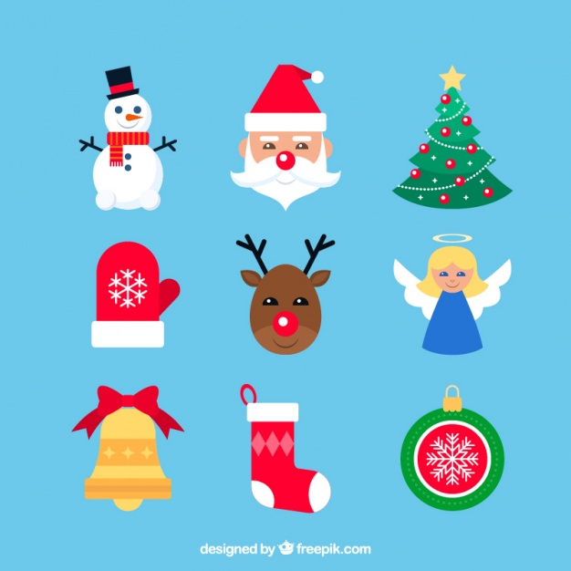 Nice flat elements ready for christmas Vector.