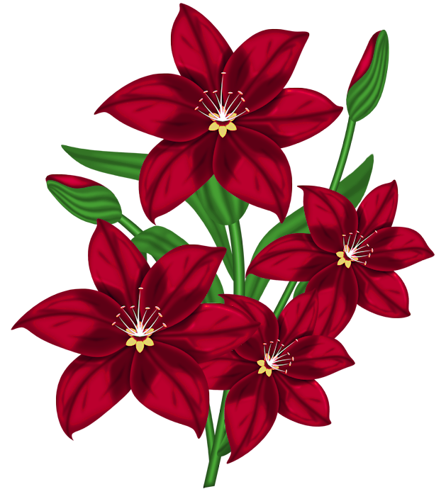 Nice Red PNG Flower Clipart.