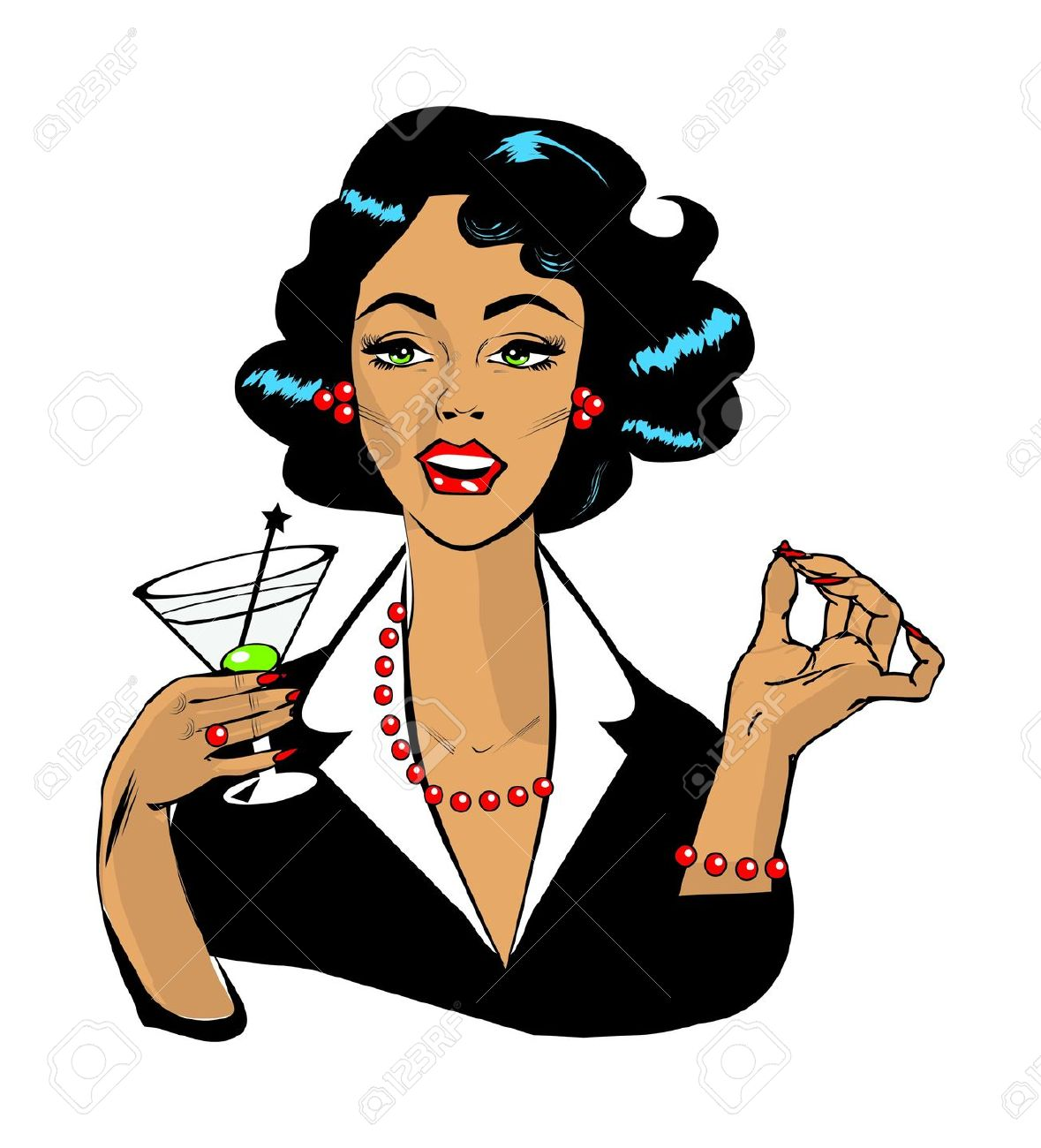 Woman Drinking Martini Or Cocktail Retro Vintage Clipart Royalty.