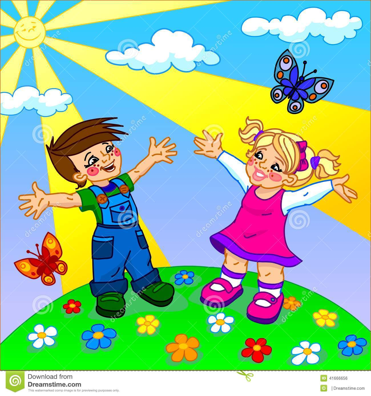 the illustration of happy cartoon kids stock illustration - Weather Pics For Kids