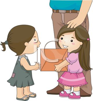 Royalty Free Clipart Image of a Nicely Dressed Girl Giving.
