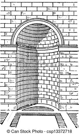 Vector Clip Art of Roman Niche, vintage engraving.