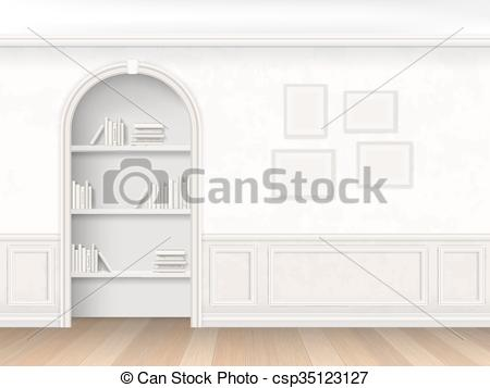 Vector Illustration of Niche with books on shelves.
