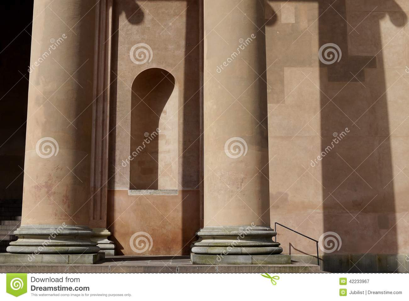 Neoclassical Architecture: Courthouse Columns Niche Stock Photo.