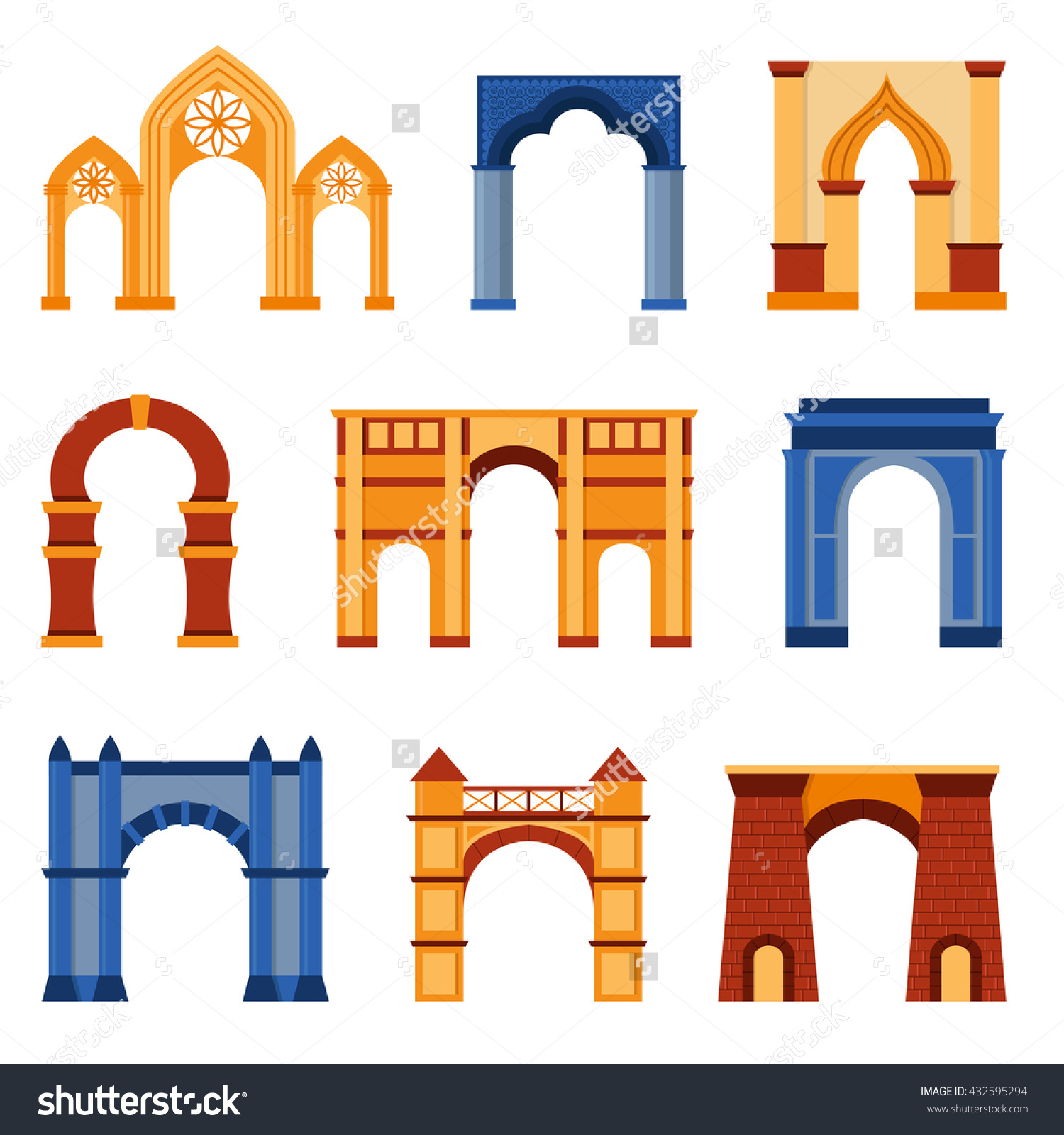 Arch Vector Set Architecture Ancient Frame Stock Vector 432595294.