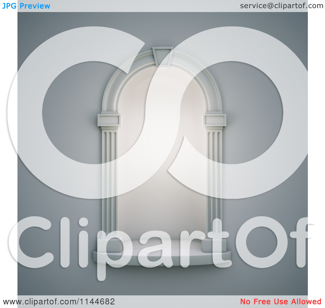 Clipart of a 3d Illuminated Classical Wall Niche.
